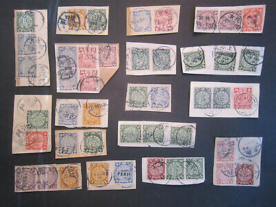 45 x Coiling Dragon Stamps on Cover Parts, Chinese Imperial Post ca.1910 China