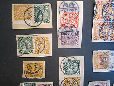 34 Coiling Dragon Stamps on Cover Parts CIP ca.1910 NICE BILINGUAL CANCELLATIONS