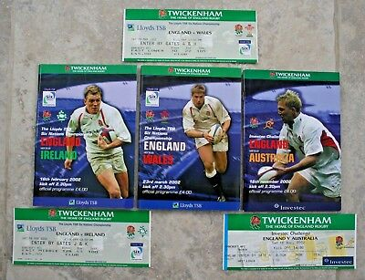 3 Rugby Union 2002 Programmes England v Wales,Ireland & Australia & Tickets