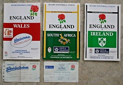 3 Rugby Union 1992 England v Wales, Ireland, South Africa Programmes & 2 Tickets