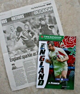 "2007 England v France ""6 Nations"" Programme with newspaper clipping"
