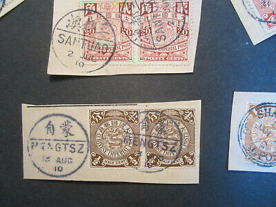 30 Coiling Dragon Stamps on Cover Parts CIP ca.1910 NICE BILINGUAL CANCELLATIONS