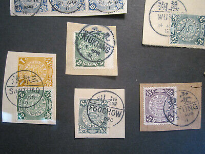 23 Coiling Dragon Stamps on Cover Parts CIP ca.1910 NICE BILINGUAL CANCELLATIONS