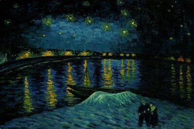 36x48 STRETCHED MUSEUM QUALITY Oil Hand-painted Starry Night Over Rhone Van Gogh