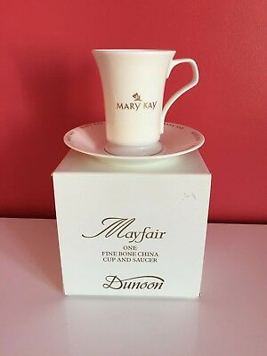 Mayfair Dunoon Fine Bone China White & Gold Cup & Saucer 'Mary Kay'  *Brand New*