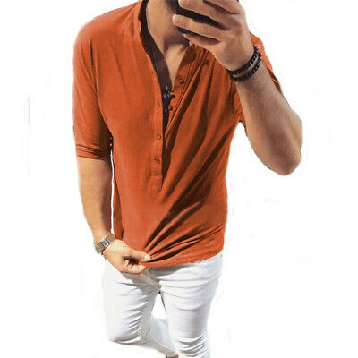 Style Mens Casual Solid Shirts Linen Breathable Pullover Summer Wear Shirt Tops