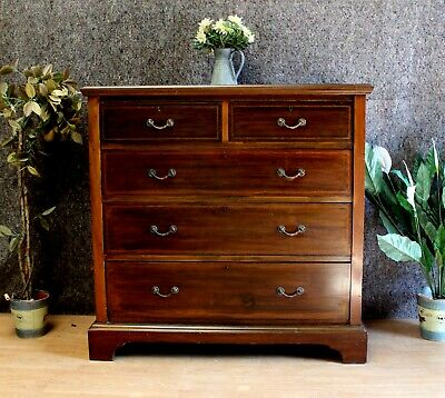 Edwardian Mahogany Inlaid Maple & Co Chest Of 2 Over 3 Drawers