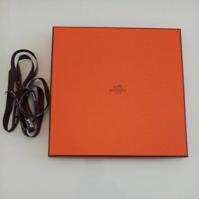 Authentic Hermes Scarf Empty Box for Gift 24 x 24cm w/ Tissue Paper & Ribbon