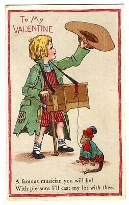 1909 Valentine Organ Grinder & Monkey*Conwell*Famous Musician*Postcard
