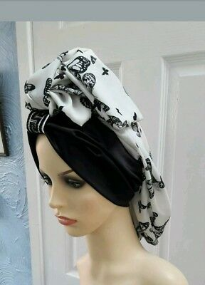 vintage inspired 1940s 1950s hat turban hijab black and white one size fits all