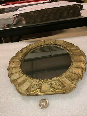 VINTAGE OLD MADE IN USA SYROCO WOOD OVAL TABLE MIRROR(2 cracks in wood)