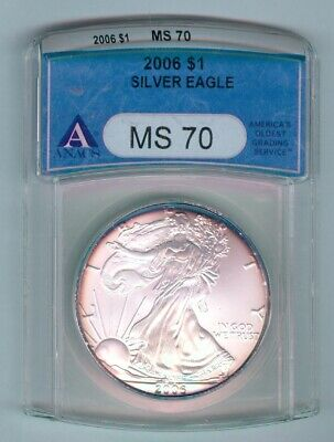2006 Silver American Eagle - 1 Ozt. - Toned - Anacs Slabbed - Ms70