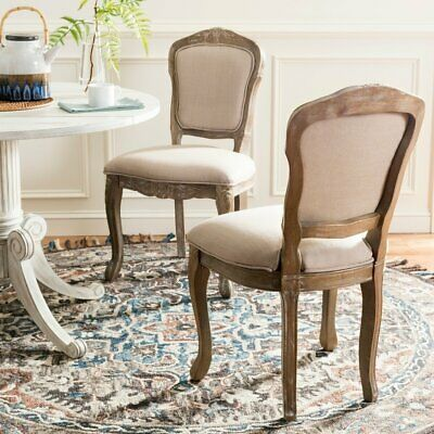 Safavieh Burgess Antique White Upholstered Side Chair (Set of 2)