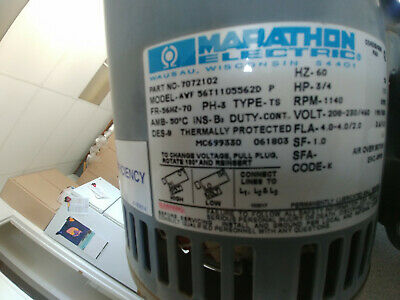 Marathon Fan motor 1140 rpm 3/4 hp 208-230480 volt