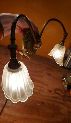 Antique 1920s Bronze/ Brass Wall sconces with 2 lights ,Adjustable arms