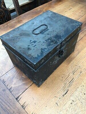 late victorian or early 1900s small tin deed box