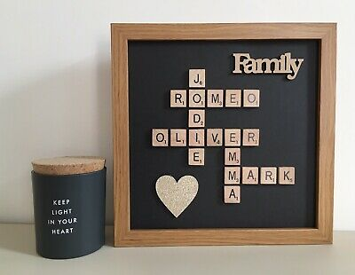 Plastic/Wooden Scrabble Art Picture Frame Personalised - Black Background