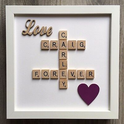 (d) Scrabble Art Picture Frame Personalised Love & Heart 30 Colours - Valentine