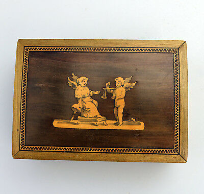 Antique Boxes : A good olive wood Grand Tour Sorrento Box with Angels C.1890