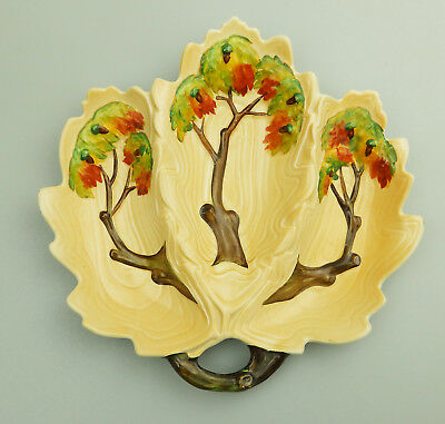 Antique British Art Pottery a Carlton Ware Oak Tree triple Dish C.1930's