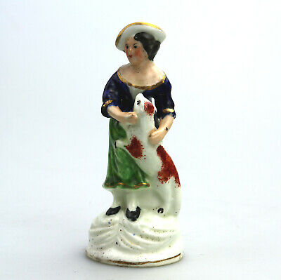 Antique English Pottery Staffordshire Girl with dog C.19thC