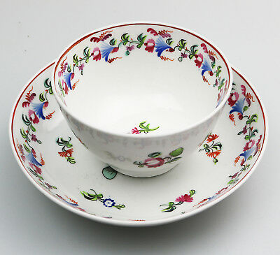Antique English Porcelain an attractive New Hall Tea Bowl & Saucer 3  C.18thC
