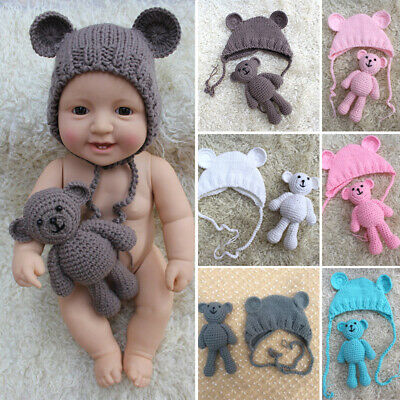 Newborn Baby Photography Prop Doll Knitted Hat Toys Crochet Knitting Costume