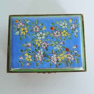 Vintage Oriental Asian Floral Porcelain And Brass Trinket Wood Box