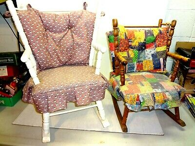 1960s N. D. CASS Child's Wooden Rocking Chair x 2 Original Tags on Vintage