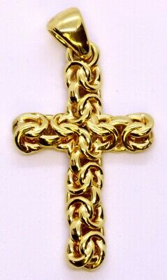 Milor Italy 14K Resin Yellow Gold Byzantine Twisted Knot Cross Crucifix Pendant
