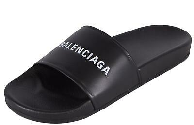 09f17d762ffc NEW Balenciaga Men s Black Rubber Printed Logo Slides Sandals Shoes 42 E 9  US
