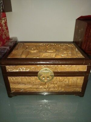 金丝楠木五面雕珠宝盒antique gold nanmu wooden jewelry box Carved brass lock Chinese art