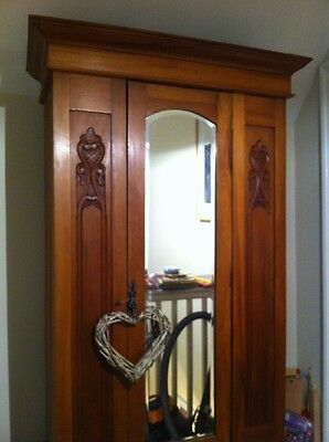 Vintage Art Nouveau Style Light Wood Wardrobe With Drawer Under