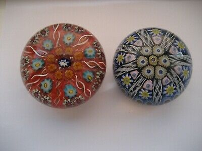 Pair of Scottish Round Millefiori Glass Paperweights , Strathearn and Vasart