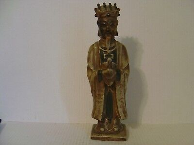 Vintage Heavy Chinese Ceramic Wise Man With Robes Holding A Staff Figurine 13-½""