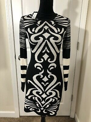 af871e84b66 NWT Sweater Dress by Romeo + Juliet Couture Black White Print Size Small