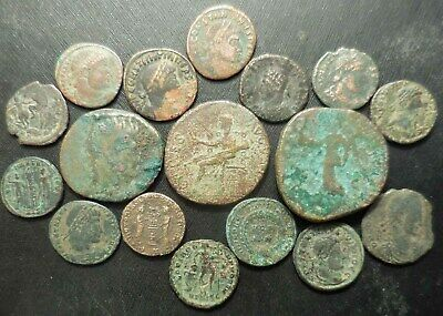 Lot of 17 VF to VF+ Ancient Roman Coins: Sestertius + Claudius Ceres Seated As!