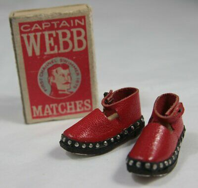 Pair Miniature Red / Black Wooden Clogs in Captain Webb Matchbox Folk Art