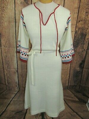 Vtg 70s International Boutique Acrylic Boho Sweater Dress Womens Sz S Cream