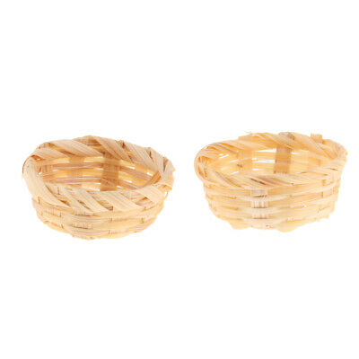 2pcs Dollhouse Miniature Bread Drinks Bamboo Basket Kitchen Decor Accs #5