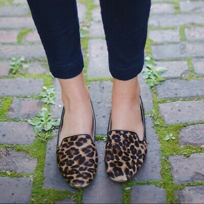cd4decb370b J Crew Factory Shoes Brown Black Calf Hair Leopard Loafers Flats Size 9.5 9  1