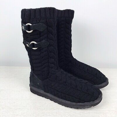 2c38577b908 UGG AUSTRALIA TULAROSA #3177 Black Cable Knit Slouch Boots Women's ...