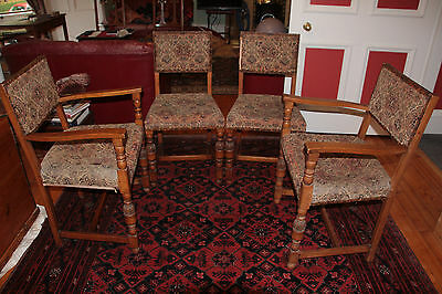 Set 6 Finely Carved Gothic Revival commissioned Oak Tapestry Dining Chairs 1930s