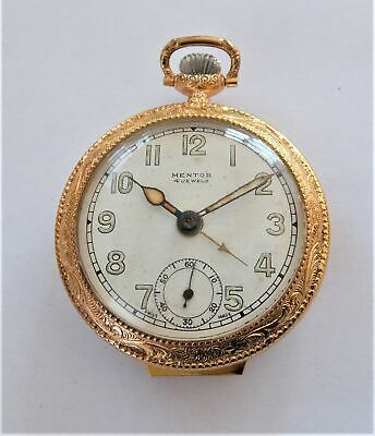 1920's Gold Plated Mentor Lever Alarm Pocket Watch In Full Working Order