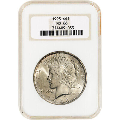 1923 US Peace Silver Dollar $1 - NGC MS66