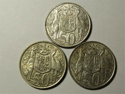 1966 Australian Silver Round Fifty Cent x Three - 3 x 1966 50 cent