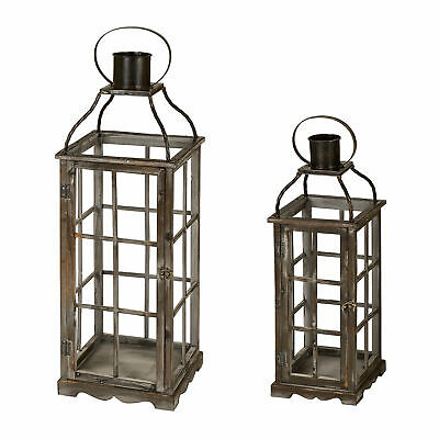 Glitzhome Set of 2 Antique Farmhouse Country Style Candle Holder Rustic Lantern