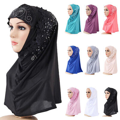 Muslim One Piece Hijab Islamic Lace Flower Scarf  Amira Headscarf Women Headwarp
