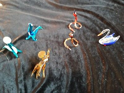 Vintage Small Glass hand blown  Animal Ornaments x 6