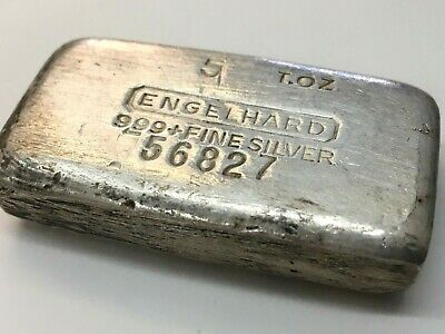"Engelhard 5 troy oz 999 Silver Hand Poured Bar - 7th Series ""T.OZ"" #56827 Scarce"
